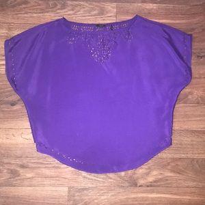 Guess Purple Lightweight Cutout Top